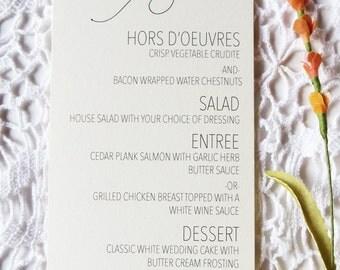 Printed Wedding Menu Card, Modern Wedding Menu