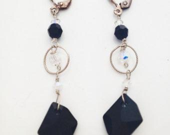 Black Swarovski Crystals Earrings in Sterling Silver - 473