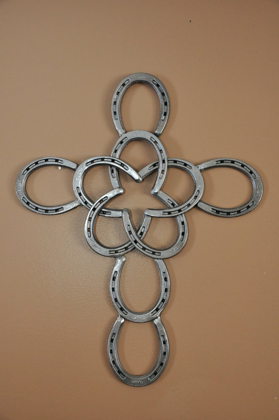 Items similar to horseshoe cross with star on etsy for Things made from horseshoes