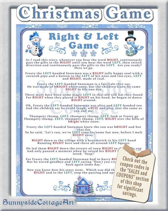 Items similar to Christmas Right and Left Story/Game. Christmas party ...