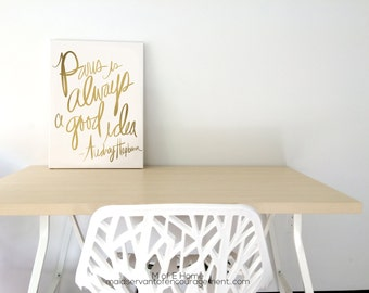Canvas Audrey Hepburn Quote, Paris is Always a Good Idea, Gold Typography on Gallery Wrapped Canvas- 4 Sizes Available