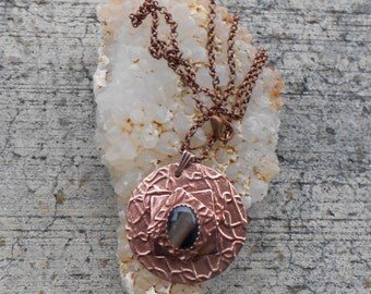 OOAK Layered Copper Pendant with Black Dyed Agate