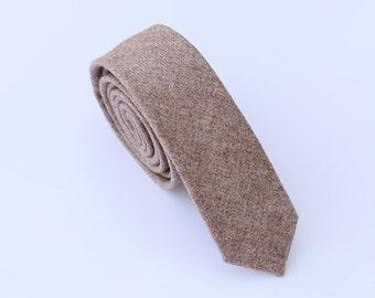 Light Brown Wool Tie.Wool Skinny Tie.Tan Skinny Tie. Business Tie.Wedding.Gifts