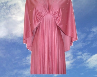 70s plus size prom dress capelet maxi pink cape 12 14 1x extra large xl