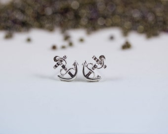 anchor stud earrings, silver anchor earrings, anchor studs, tiny anchor earrings, anchor earrings in silver, anchor jewelry, sailor earings