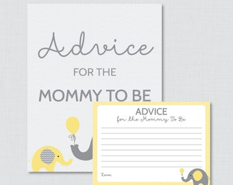 Advice for Mommy to Be Cards and Sign Elephant Baby Shower Printable - Instant Download Elephant Advice for Mom, Yellow and Gray 0024-Y
