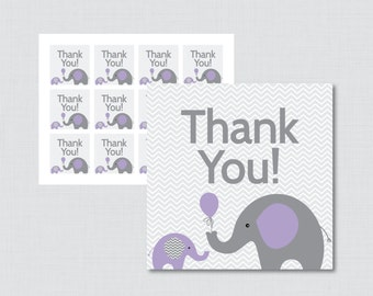 Printable Elephant Baby Shower Favor Tags in Purple and Gray - Thank You Tag for Elephant Baby Shower - Instant Download - Elephant 0024-R