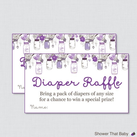 baby shower diaper raffle cards and sign printable download purple