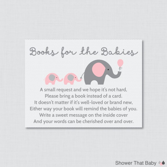 Elephant Twins Baby Shower Bring A Book Instead Of A Card Inserts   Instant  Download   Pink And Gray Books For The Babies   Elephant 0016 TP