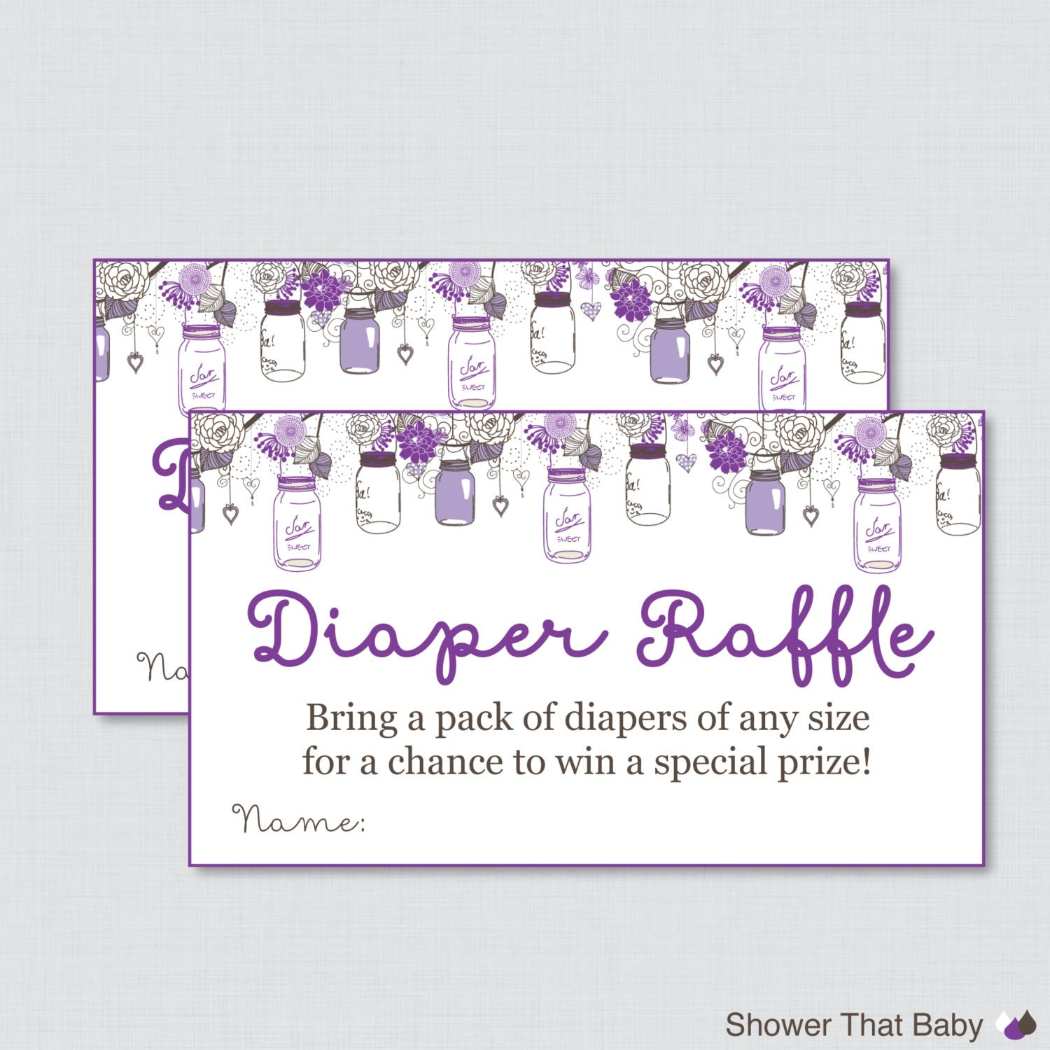 baby shower diaper raffle cards and sign by showerthatbaby
