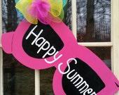 Summer door hanger,sunglasses door hanger, summer wreath, summer welcome sign, welcome door decor, trending door decor.