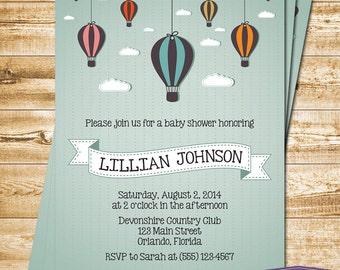 Hot Air Balloon Baby Shower Invitation - Hot Air Balloon Boy Baby Shower Invite - Gender Neutral Baby Shower - Girl Baby - 1352 PRINTABLE