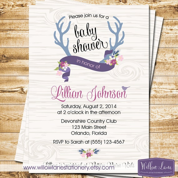 deer antler baby shower invitation with blue and purple flowers
