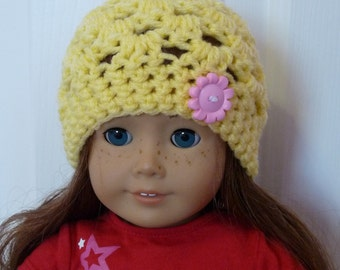 """Light Yellow 18"""" Doll Hat with Pink Flower"""