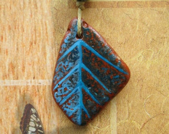 Blue Leaf Hand-painted on earthenware - original pendant