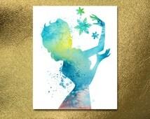 INSTANT DOWNLOAD, Frozen Art, Watercolor Disney, Frozen Print, Frozen Poster, Digital Poster, Elsa Anna Print, Disney art, Disney Print