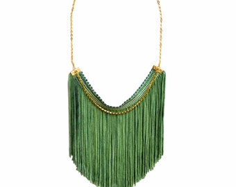 Bohemian Statement Necklace, Green Fringe Necklace, Fun Necklace, Hand Dyed Tassel Necklace