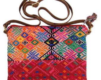 SALE Crossbody Bag//Clutch with Adjustable Strap//Tassel Zipperpull//Vintage Guatemalan Textile