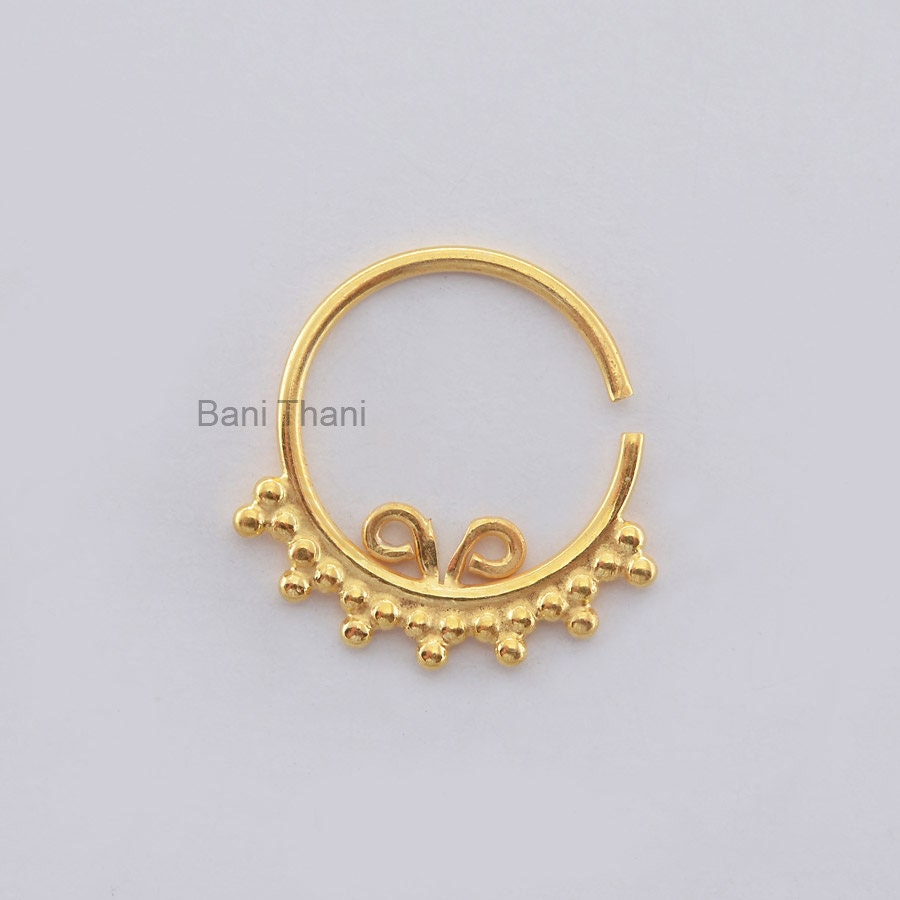indian septum ring gold plated 925 sterling silver nose