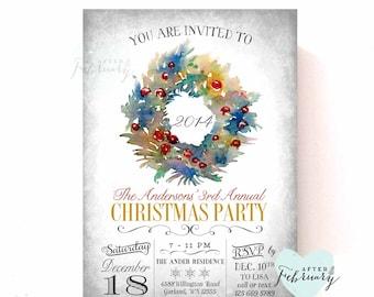 Watercolor Holiday Party Invitations Holiday Invite Christmas Printables Christmas Invitations Invite Printable No.526XMAS