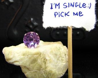 Single earring with amethyst, single earring stud, unique big earrings with genuine amethyst 10 mm