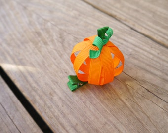 Fall Pumpkin Ribbon Sculpture Bow; Autumn Holiday Hair Clip; Thanksgiving or Halloween Pumpkin