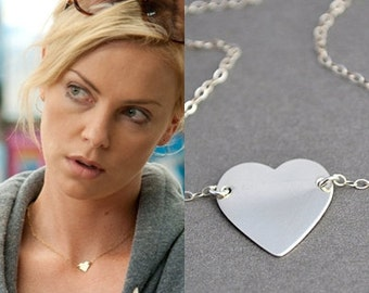 Heart Necklace, Celebrity Inspired, Silver Heart Necklace, Simple Necklace, Everyday, Gift Idea, Moom Necklace