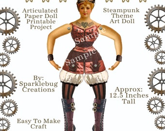 Steampunk  Articulated Paper Doll Printable Craft Project