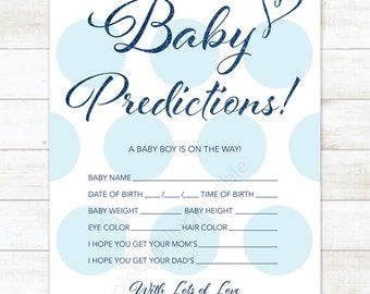 baby prediction card baby blue polka dots baby shower game DIY baby blue gold baby boy digital shower games - INSTANT DOWNLOAD