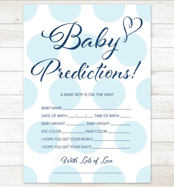 Baby Prediction Card Baby Blue Polka Dots Baby Shower Game Diy