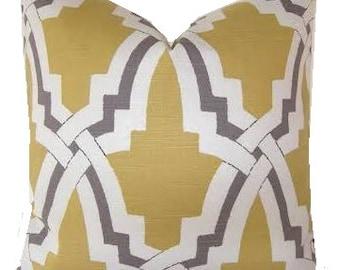Geometric Pillow Cover Duralee Bokara Pillow Cover  Grey Yellow Pillow Cover Trellis Pillow Cover ONE