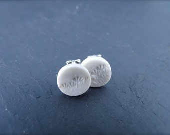 Queen's Anne's Lace Imprinted Porcelain & 925 Sterling Silver Round Post Earrings. Simple White Ceramic Studs. Handmade Clay. Doe and Day.