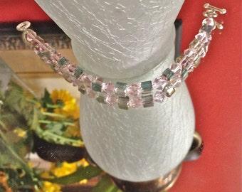 Bracelet, CrystalBicones, Crystals, PuffyCubes, Rainbows, Wedding, Brides, Bridesmaid, DressUp, DressDown, Matching Necklace