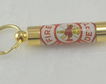 LDS Consecrated Oil Vial with Firefighter Emblem.