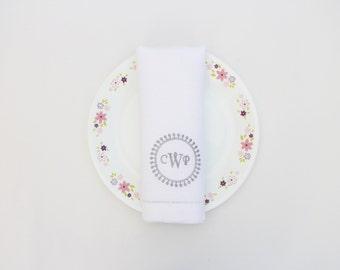 Wedding monogram napkin, linen hemstitched table napkin, 20x20 inch, 50x50 cm dinner napkins