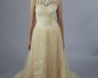 3D Rose Lace Champagne Sweetheart line with Crystal Belt New Design Wedding Dress