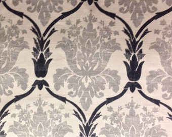 Gray Black and White Damask - Upholstery Fabric By The Yard