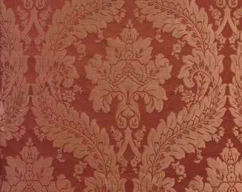 Salmon Damask Silk Fabric - Designer Silk Fabric - Silk Fabric By The Yard - Home Decor Fabric