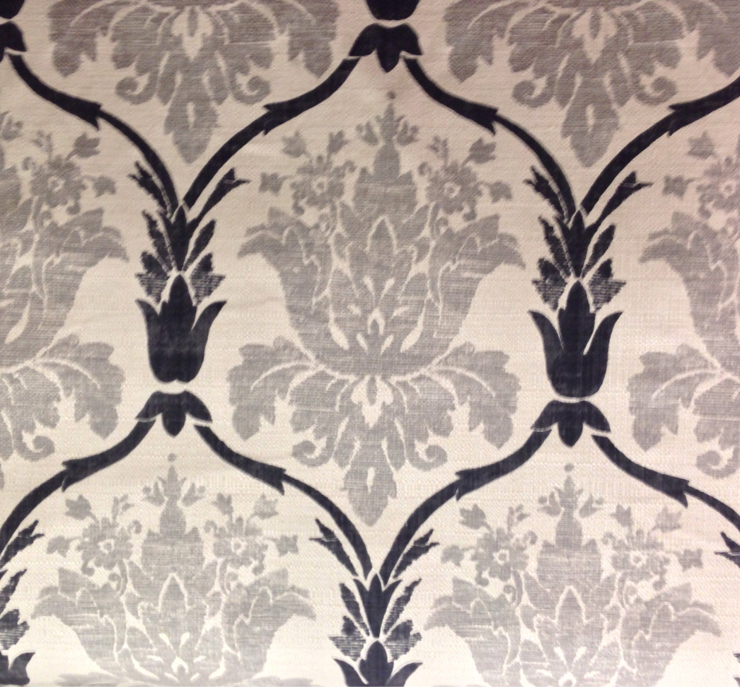 Gray black and white damask upholstery fabric by the yard for Black and white fabric