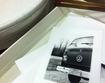 black and white vw bus photograph