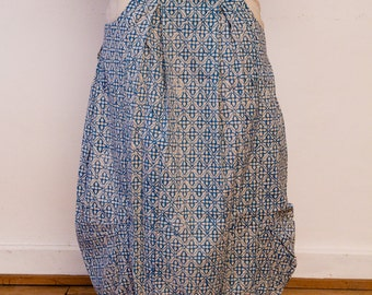 SALE - 50% OFF - Rutabaga: a long ample skirt - rounded side pockets - block printed fabric - fair trade produced