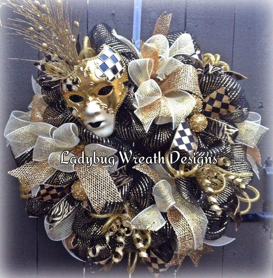 mardi gras wreath with black and gold mask deco mesh mardi