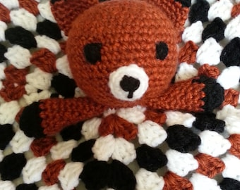 Baby Fox Security Blanket, Crochet Baby Security Blankets, Handmade Security Blanket for Baby, Afghan