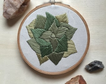 Hoop Art - Ready to Ship - Succulent Embroidery Art in 4-inch Hoop