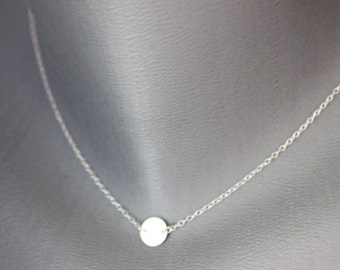 Minimalist choker necklace, 925 sterling silver with round medal - fine silver necklace