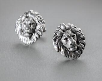 Lion Cufflinks Men's Cufflinks Steampunk Cufflinks Safari Antique Silver Leo Cufflinks Statement Cufflinks Gifts for Him Men's Gifts