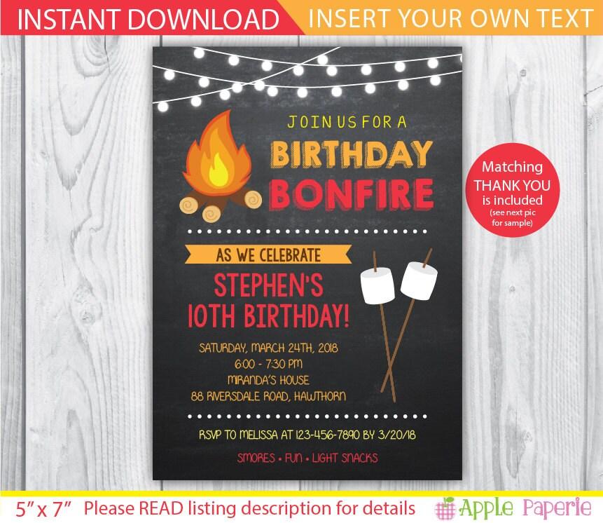 Bonfire Invitation Camp Invitation Bonfire Party