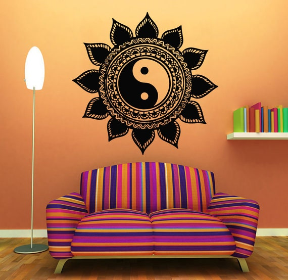 mandala wall decals indian floral design sun flower decal yin yang