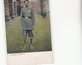 Bombay India Policeman,Police 1905 Unusual Uniform Postcard Must See!