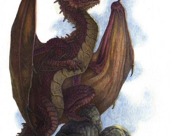 "Red Dragon 8.5""x 11.5"" Original Painting"